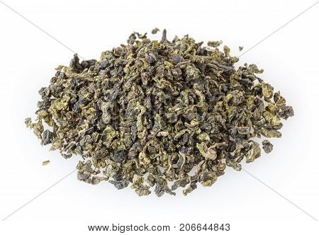 Green oolong tea isolated on white background