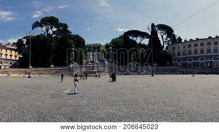 Fountain Of The Goddess Of Rome (fontana Della Dea Di Roma) Seen From The Town Square, In Italian