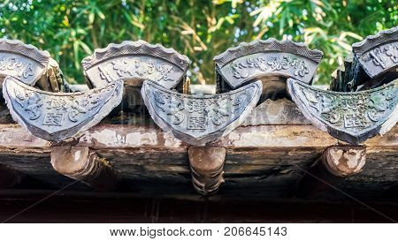 Shanghai, China - Nov 4, 2016: Traditional Chinese building eaves with classical design styling.