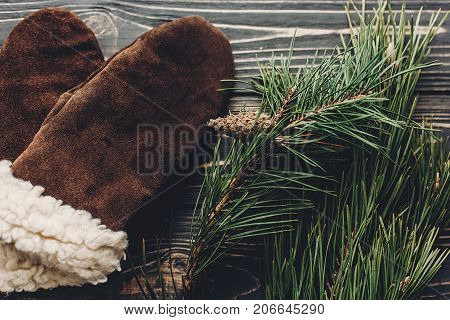Warm Cozy Gloves On Rustic Background With Fir Green Branches Top View, Space For Text. Hipster Styl