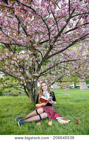 Studing in park, A pretty girl reading a book, Learning in nature, Student, girl student, break between lectures