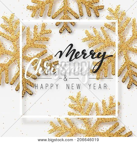 Christmas background with Shining gold Snowflakes. Lettering Merry Christmas and Happy New Year card vector Illustration.