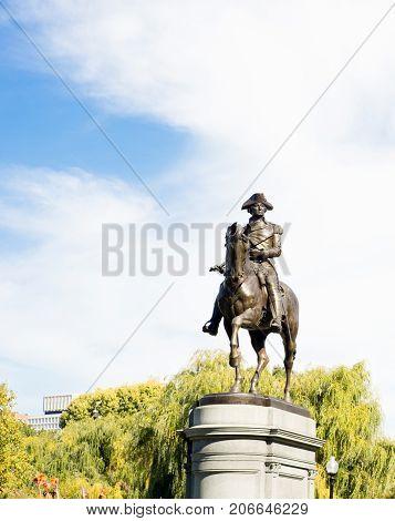 George Washington Statue in Boston Common Skyline