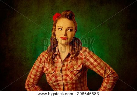 Closeup young pretty pinup girl red button shirt looking aside teal color background retro vintage 50's style. Human emotions body language