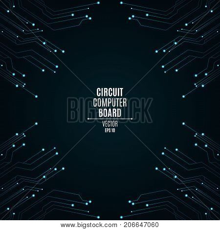Background from a computer board with luminous blue connectors. Circuit computer board. High-tech neon network connection lines. Vector illustration
