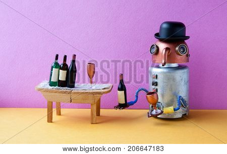 Funny robot alcoholic gets drunk. Wine party event concept. Creative design copper head long nose cyborg with wine glass and bottle. Wooden table, bucket with spirits, pink wall yellow floor interior