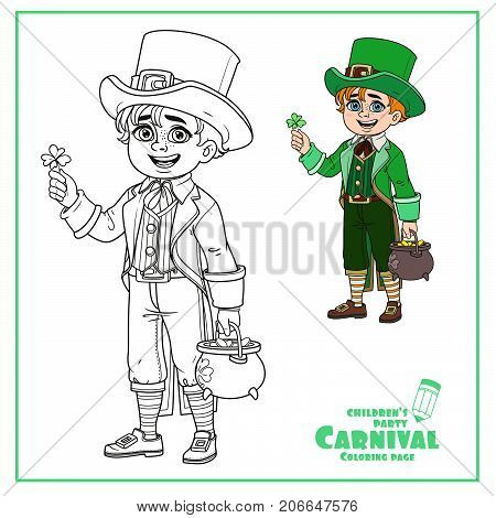 Cute Boy In Leprechaun Costume With A Pot Of Gold Color And Outlined For Coloring Page