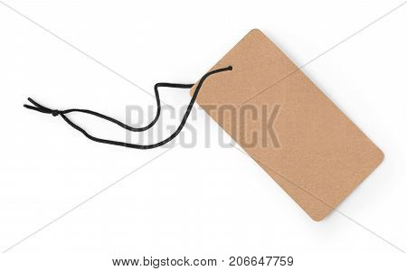 Blank tag tied with string. Price tag gift tag sale tag address label.with clipping path