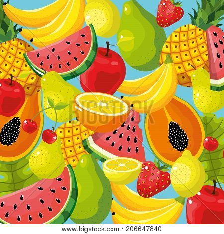 delicious tropical fruit background design vector illustration
