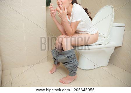 Photo Of Lovely Sweet Girl Having Constipation.
