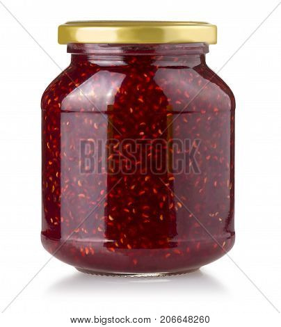Strawberry jam jar isolated on white background with clipping path