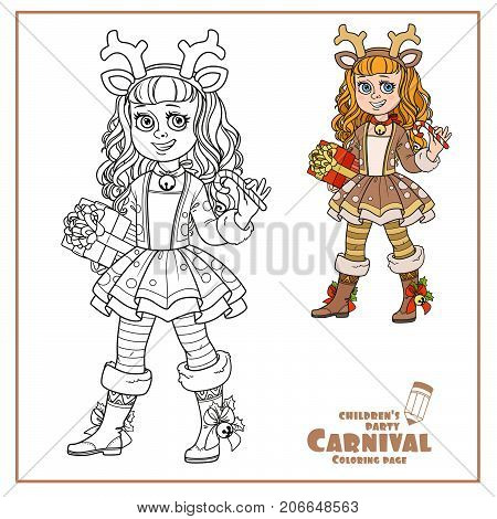 Cute Girl In New Year's Deer Costume Color And Outlined For Coloring Page
