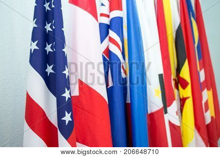 group of United States and North American Asia Pacific flags in Internationl meeting