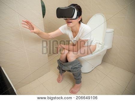 Smiling Pleasantly Woman Wearing Virtual Reality