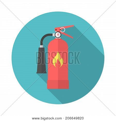 Fire extinguisher circle icon with long shadow. Flat design style. Extinguisher simple silhouette. Modern minimalist round icon in stylish colors. Web site page and mobile app design vector element.