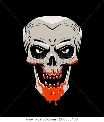Evil skull and blood. Halloween, zombie, undead vampire cartoon