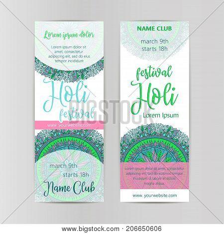 Vector mandala Holi. Happy Holi festival design with Mandala. Oriental pattern vector illustration. Islam Arabic Indian turkish