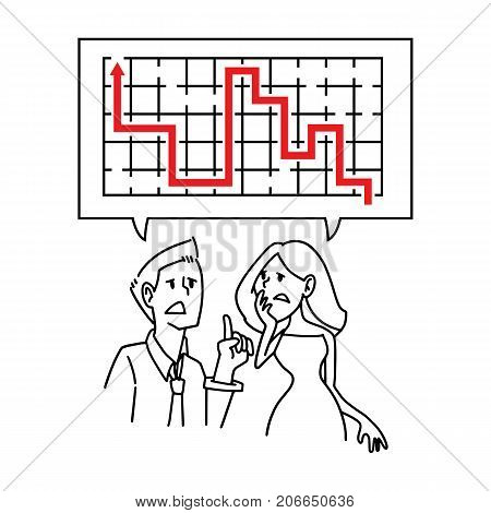 Vector illustration businessman and businesswoman discussing about problem solution couple lover problem solution every problem will have exit always.