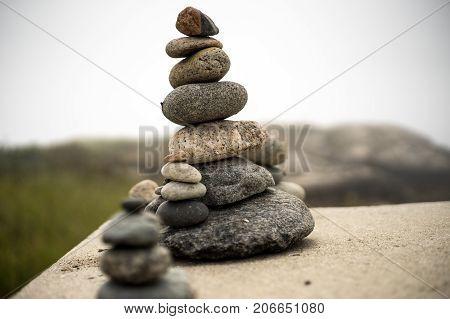Zen stone balance rock arrangement relaxation calm
