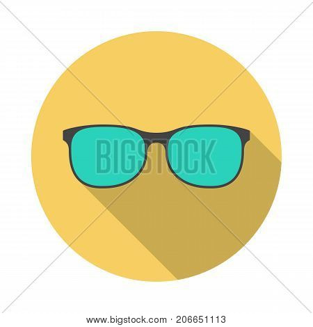 Glasses circle icon with long shadow. Flat design style. Glasses simple silhouette. Modern minimalist round icon in stylish colors. Web site page and mobile app design vector element.