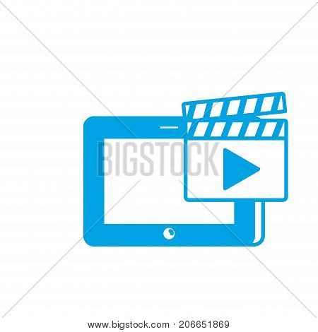 silhouette tablet technology with clapperboard video icon vector illustration