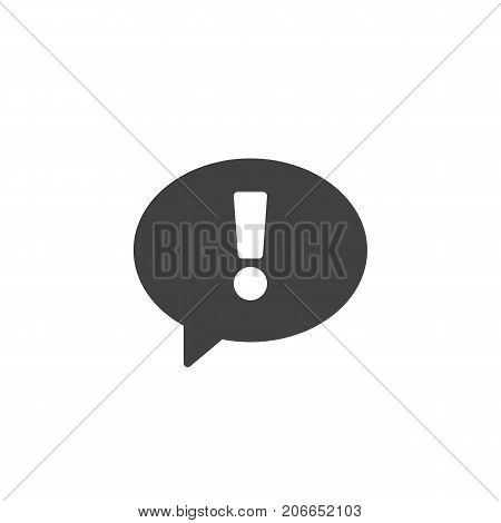 Statement icon vector, filled flat sign, solid pictogram isolated on white. Exclamation point in speech bubble symbol, logo illustration.