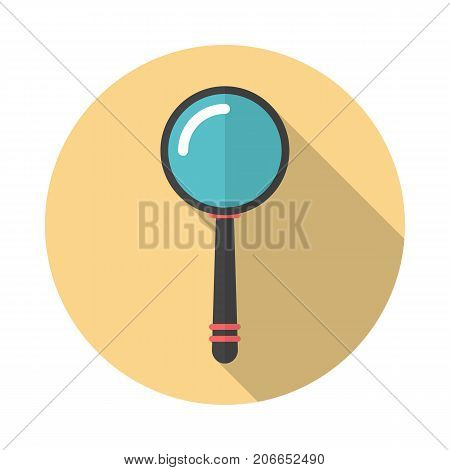 Magnifier round icon with long shadow. Flat design style. Magnifying glass simple silhouette. Modern circle icon in stylish colors. Web site page and mobile app design vector element.