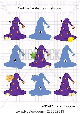Halloween themed visual puzzle or picture riddle with witch's hat: Find the hat that has no shadow. Answer included.