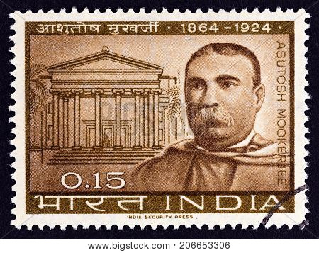 INDIA - CIRCA 1964: A stamp printed in India issued for the birth centenary of Sir Asutosh Mookerjee shows education reformer Sir Asutosh Mookerjee, circa 1964.