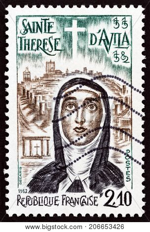 FRANCE - CIRCA 1982: A stamp printed in France issued for the 400th death anniversary of St. Teresa of Avila shows St. Teresa of Avila, circa 1982.
