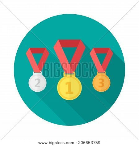 Medals circle icon with long shadow. Flat design style. Medal set simple silhouette. Modern minimalist round icon in stylish colors. Web site page and mobile app design vector element.