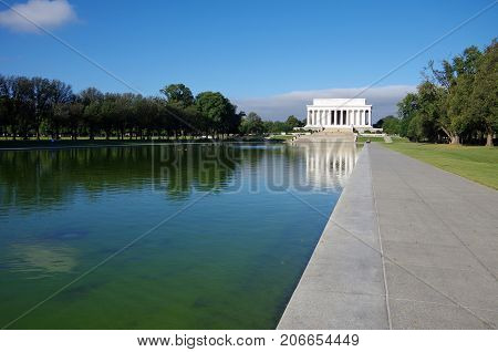 Washington DC, United States - September 27, 2017: Lincoln Memorial at the National Mall. Washington DC