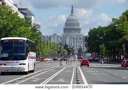 Washington DC, United States - September 27, 2017: The United States Capitol and Pennsylvania Avenue.