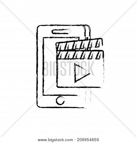 figure smartphone technology with clapperboard video vector illustration
