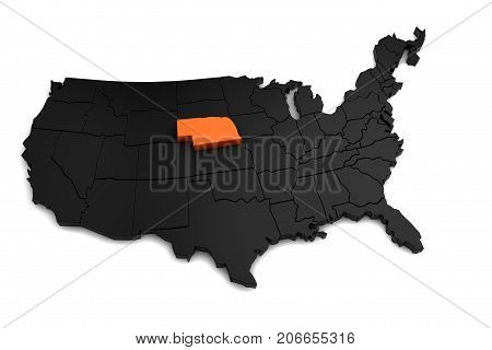 United States of America, 3d black map, with Nebraska state highlighted in orange. 3d render