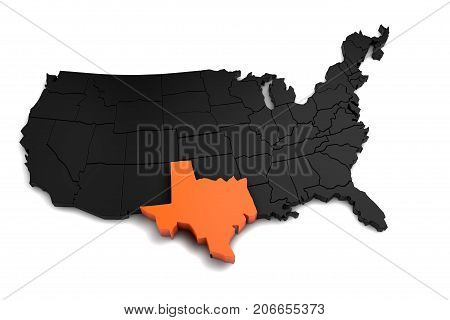 United States of America, 3d black map, with Texas state highlighted in orange. 3d render