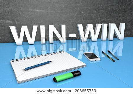 Win-Win - text concept with chalkboard, notebook, pens and mobile phone. 3D render illustration.