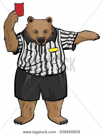 Brown russian bear soccer football referee shows red card. Isolated on white vector cartoon illustration