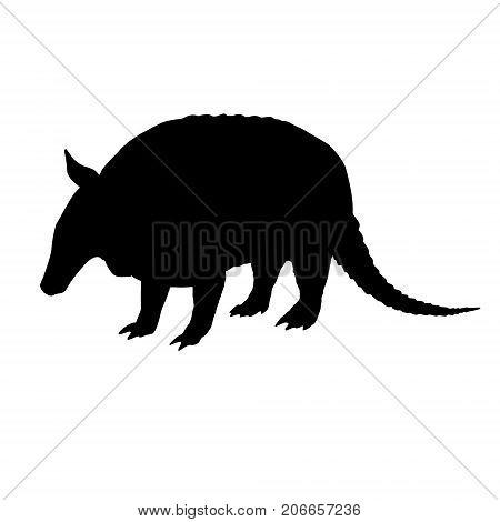 Armadillo silhouette. Hand drawn image. Black white icon. Vector illustration. Logo desing