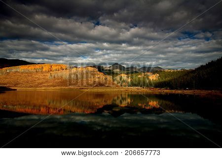 Fall colors at Crooked Creek Reservoir in Colorado