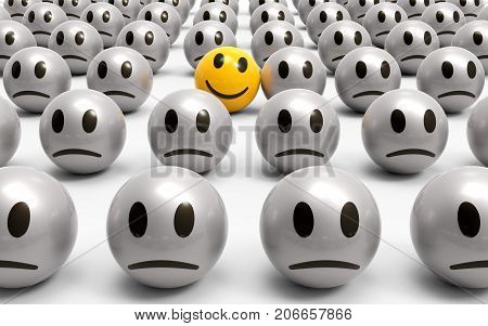 One is different a yellow smiley is smiling in a crowd of unhappy smileys 3D rendering