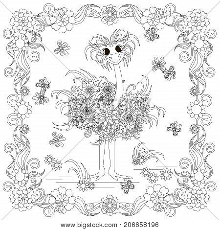 Anti stress abstract ostrich, butterflies, square flowering frame hand drawn monochrome vector illustration