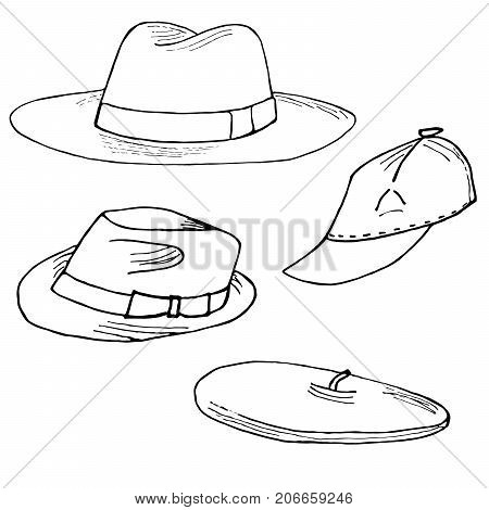 Set of fashion hats. Fedora trilby Barret and baseball cap hand drawn. Objects isolated on white.