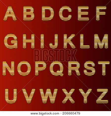 A complete set of gold 3D letters cut into straight strips. The edges of the letters are rounded. Font is isolated by a dark red background. Vector illustration.