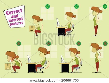 Fun cartoon girl sitting, working at laptop and lifting heavy things correct and incorrect postures. Vector illustration