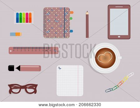 Stationery: A day planner. A smartphone. Glasses. A pencil. A rubber. A colorful stickers. Clips. A marker. A cup of coffee with a heart. Sheet in the box. Vector illustration