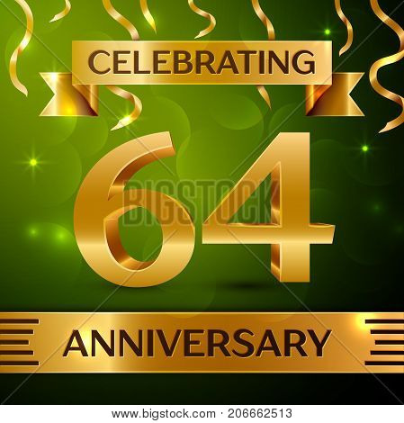 Realistic Sixty four Years Anniversary Celebration Design. Confetti and gold ribbon on green background. Colorful Vector template elements for your birthday party. Anniversary ribbon