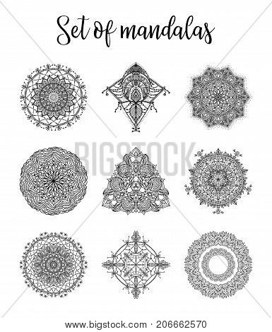 Set Of Mandalas For Coloring Book. Decorative Round Ornaments.