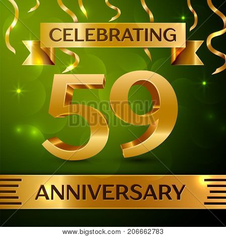 Realistic Fifty nine Years Anniversary Celebration Design. Confetti and gold ribbon on green background. Colorful Vector template elements for your birthday party. Anniversary ribbon