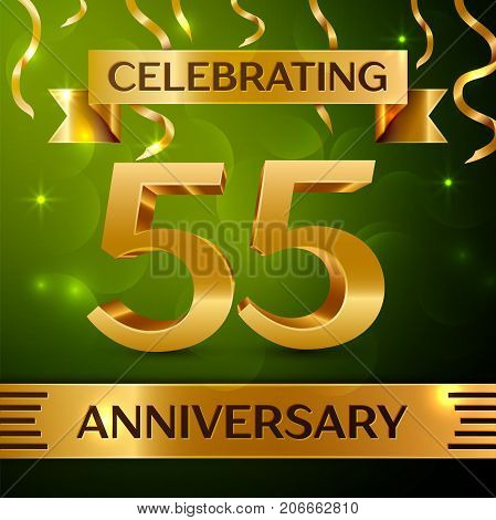 Realistic Fifty five Years Anniversary Celebration Design. Confetti and gold ribbon on green background. Colorful Vector template elements for your birthday party. Anniversary ribbon